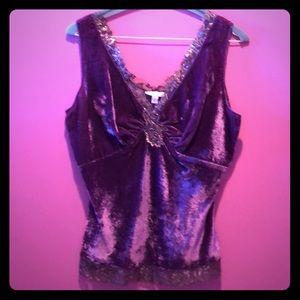 Cache purple velvet camisole